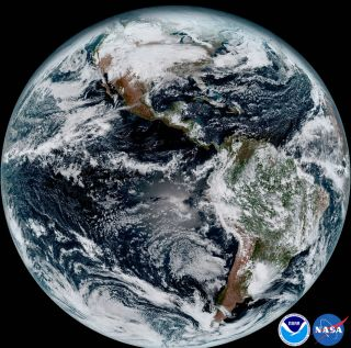 An image from NOAA/NASA satellite, GOES-16, shows a composite color full-disk visible image of Earth on Jan. 15, 2017.