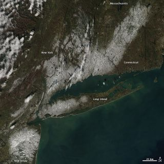 Nor'easter snowfall seen from space