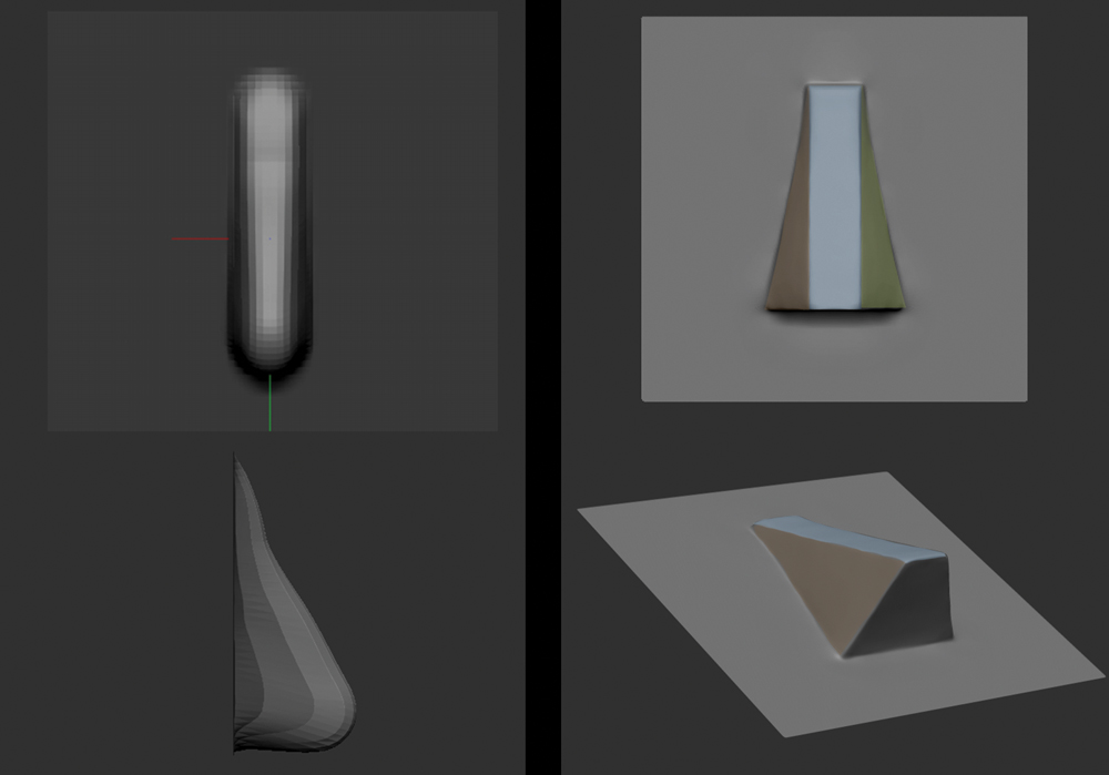 Screenshot of ZBrush interface with four different shapes