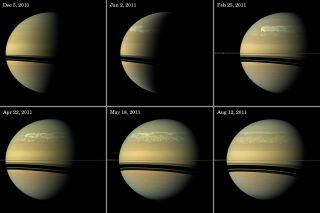 This series of images from NASA's Cassini spacecraft orbiting Saturn chronicles the evolution of a truly titanic storm system on the planet between December 2010 and August 2011.