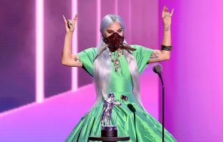 "Lady Gaga accepts the Song of the Year award for ""Rain on Me"" onstage during the 2020 MTV Video Music Awards, broadcast on Sunday, Aug. 30th 2020"