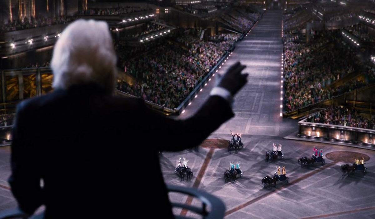 President Snow speaking at the 74th Hunger Games
