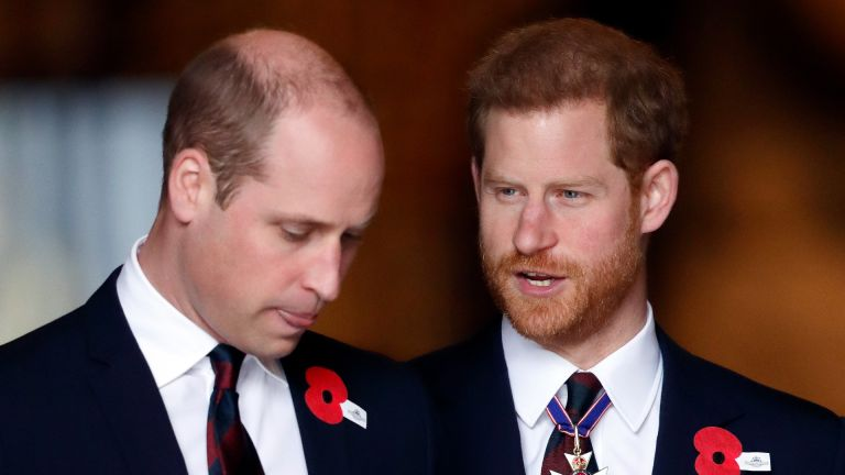 Prince William and Prince Harry attend an Anzac Day Service of Commemoration and Thanksgiving at Westminster Abbey on April 25, 2018 in London, England