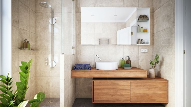 bathroom with wooden panels and plants