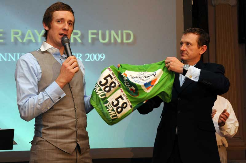 dave rayner dinner 2009, dave rayner fund, dave rayner, bradley wiggins, russell downing, sir jimmy saville, sid barras, alice monger-godfrey, david harmon, cycling auction