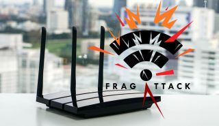 A Wi-Fi router with the FragAttacks logo superimposed on the image.