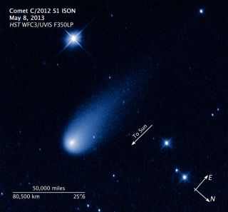 The Hubble Space Telescope captured this view of Comet ISON, C/2012 S1 (ISON), on May 8, 2013. This annotated view shows the comet's scale and direction of movement.