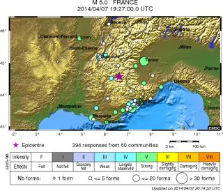 france earthquake map