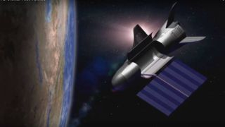 Artist's illustration of the U.S. Air Force's X-37B space plane in orbit.