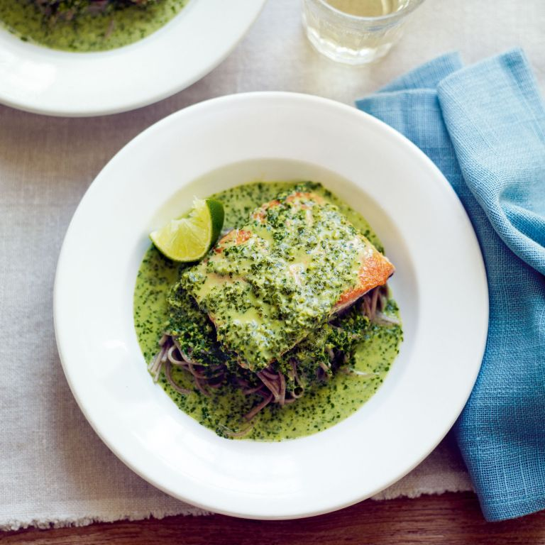 Crispy Salmon with Coconut, Mint and Coriander Sauce, and Soba Noodles Recipe-woman and home