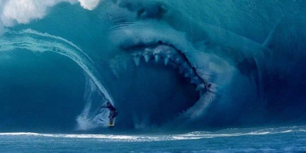 Giant shark about to swallow human in The Meg