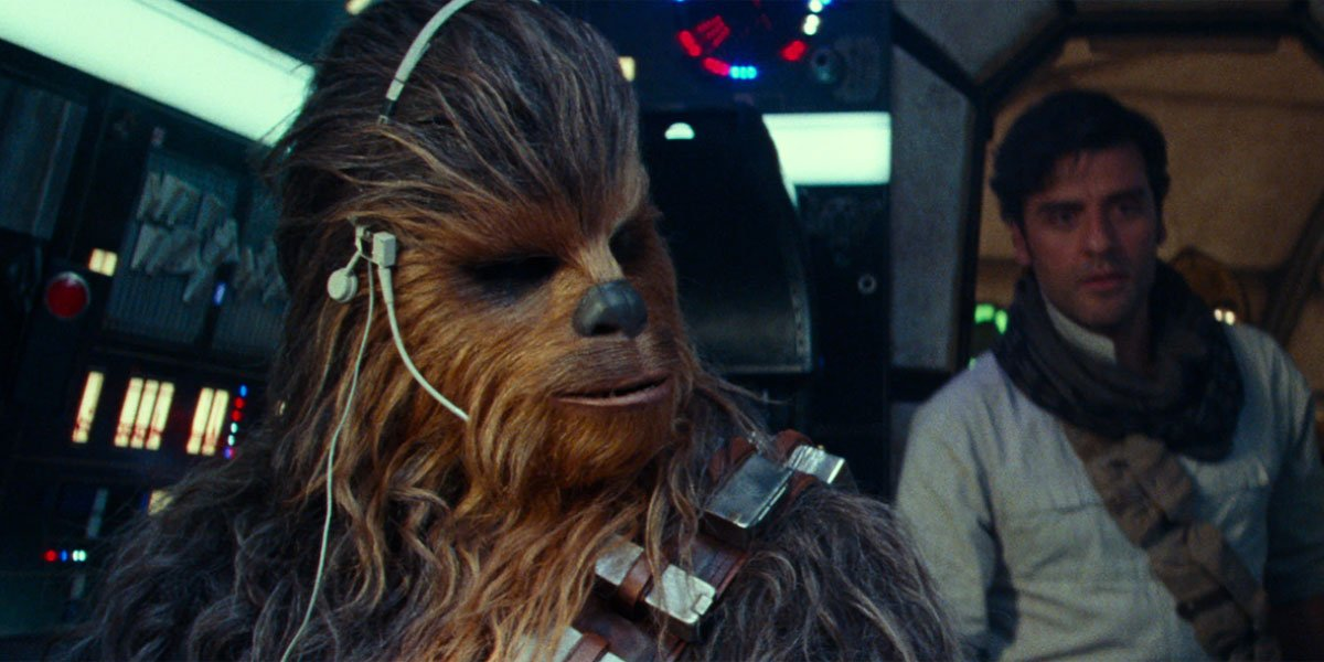 chewbacca and poe dameron in Star Wars: The Rise of Skywalker's Millennium Falcon
