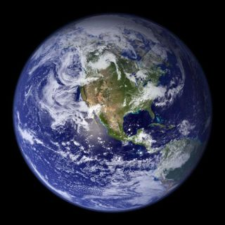 The disk of the Earth as seen by NASA satellite.