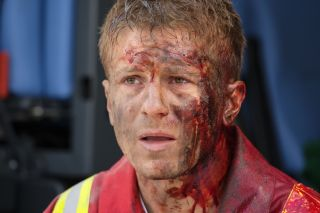 Bloody and broken. Dr Ethan Hardy on the front line of a major incident in Holby earlier this year