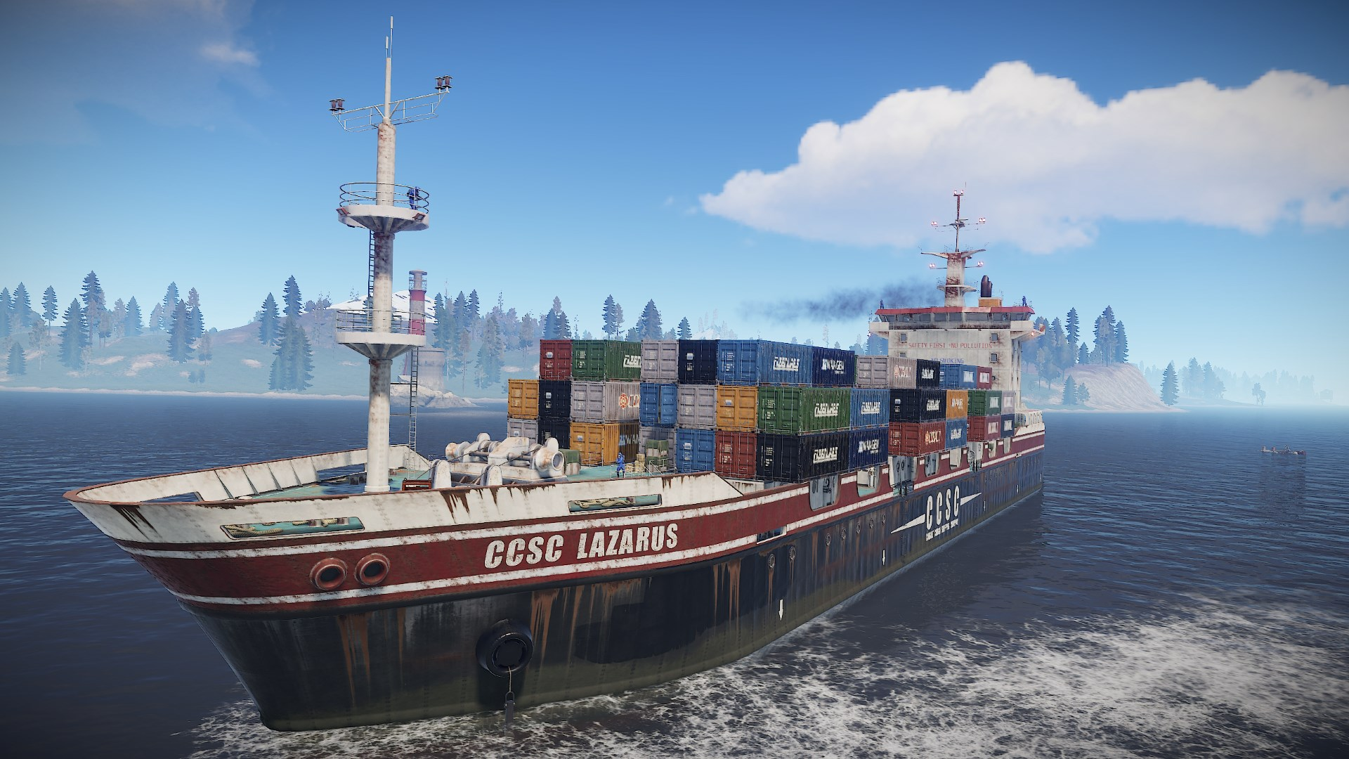 Rust gets a big boat filled with toys in the Cargo Ship