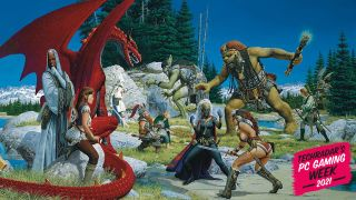 A fantasy scene of EverQuest races battling it out on in a wooded clearing