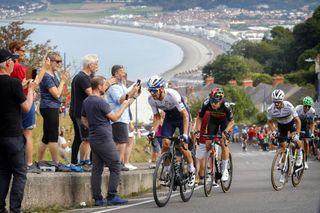 Tour of Britain 2021 - 17th Edition - 4th stage Aberaeron - Great Orme - Llandudno 210 km - 08/09/2021 - Michael Woods (NZL - Israel Start-Up Nation) - Wout Van Aert (BEL - Jumbo - Visma) - Julian Alaphilippe (FRA - Deceuninck - Quick-Step) - photo Alex Whitehead/SWPix/CV/BettiniPhoto©2021