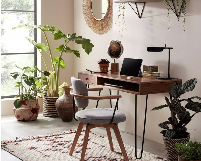 John Lewis & Partners Hairpin Desk in boho home office with plants and rug