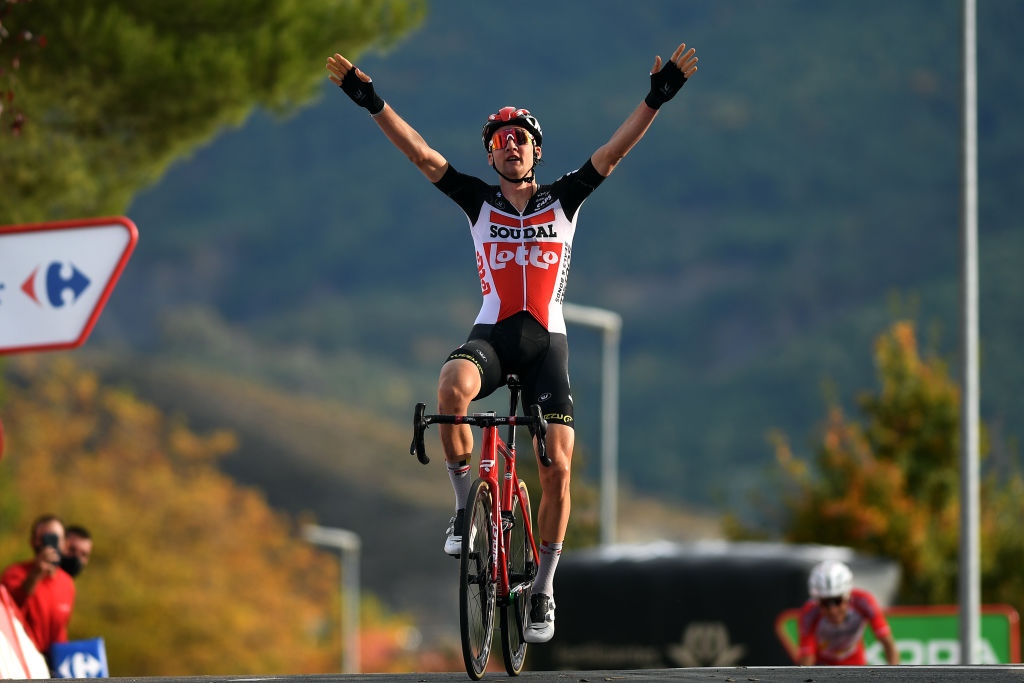 SABIANIGO SPAIN OCTOBER 24 Arrival Tim Wellens of Belgium and Team Lotto Soudal Celebration during the 75th Tour of Spain 2020 Stage 5 a 1844km Huesca to Sabinigo 835m lavuelta LaVuelta20 La Vuelta on October 24 2020 in Sabinigo Spain Photo by David RamosGetty Images