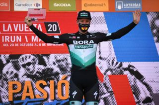 AGUILAR DE CAMPOO SPAIN OCTOBER 29 Podium Pascal Ackermann of Germany and Team BORA Hansgrohe Celebration during the 75th Tour of Spain 2020 Stage 9 a 1577km stage from Cid Campeador Military Base Castrillo del Val to Aguilar de Campoo lavuelta LaVuelta20 on October 29 2020 in Aguilar de Campoo Spain Photo by David RamosGetty Images
