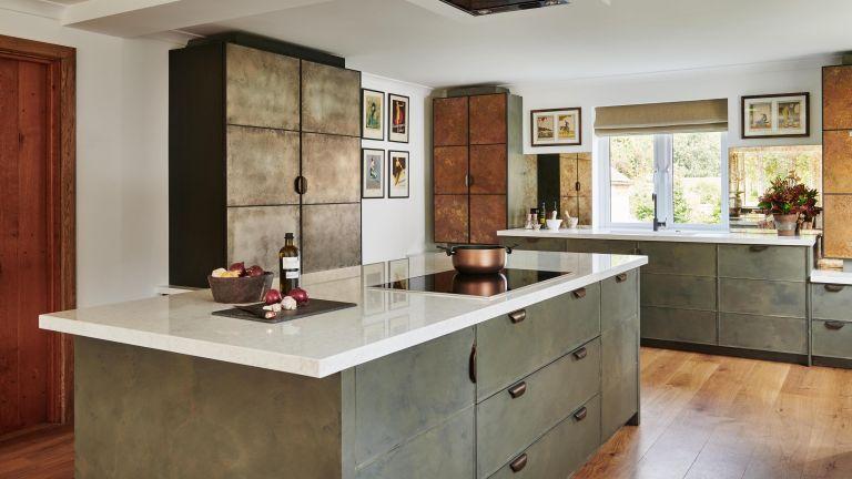 metallic kitchen with island