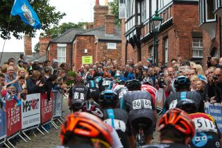 Riders take on the cobbled climb of Michaelgate at the Lincoln Grand Prix