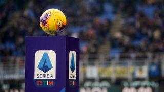 Football sitting above a Serie A logo