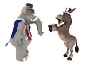 GOP Republican Elephant arguing with a DNC Democrat Donkey.