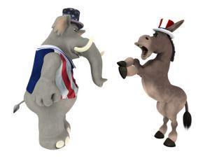 GOP Republican Elephant arguing with a DNC Democrat Donkey.