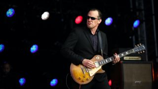 Joe Bonamassa performs on stage as part of his British Blues Explosion tour, special tribute tour to Jeff Beck, Eric Clapton and Jimmy Page at the Old Royal Naval College on July 7, 2016 in Greenwich, England