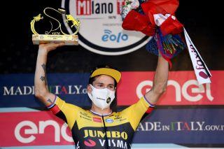 Primož Roglič of Jumbo-Visma celebrates winning Milano-Torino