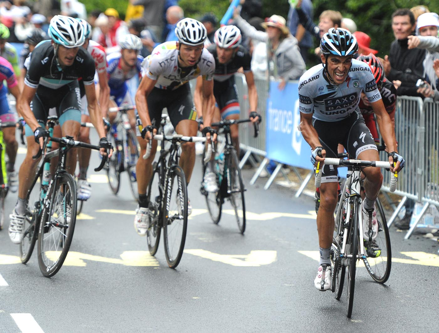 Alberto Contador attacks, Tour de France 2011, stage eight