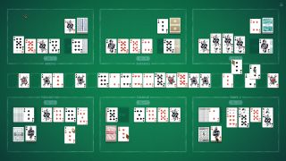 Six different games of solitaire on one green table.