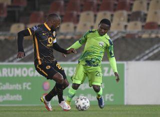Ndabayithethwa Ndlondlo of Marumo Gallants FC challenges Bernard Parker of Kaizer Chiefs