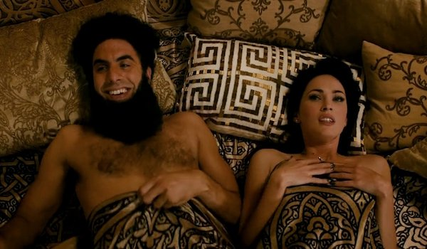 Megan Fox and Sacha Baron Cohen in The Dictator