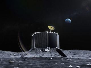 Artist's illustration of ispace's Series 2 robotic lander on the surface of the moon.