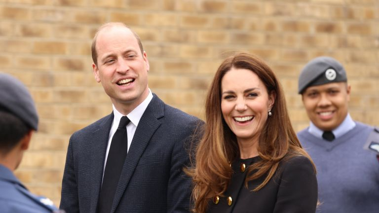 Prince William, Duke of Cambridge and Catherine, Duchess of Cambridge, wearing black as a mark of respect following the Duke of Edinburgh's passing, visit 282 East Ham Squadron, Air Training Corps in East London on April 21, 2021 in London, England