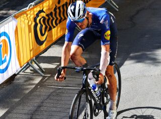 Tim Declercq rides to the finish on stage 14 at the Tour de France
