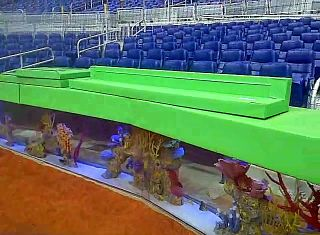 The new Miami Marlins baseball stadium uses fish aquariums as a backstop.