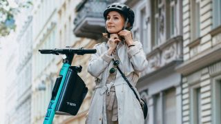 Electric scooter foldable helmet