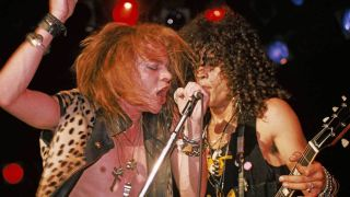 Axl and Slash onstage at the Troubadour