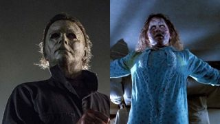 Michael Myers in Halloween 2018 and Linda Blair in 1973 The Exorcist