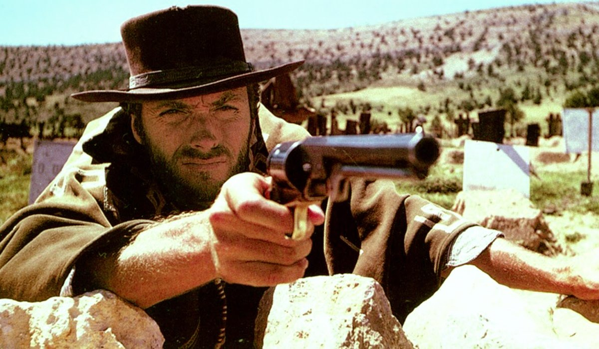 The Good The Bad and The Ugly Clint Eastwood takes aim on a mound
