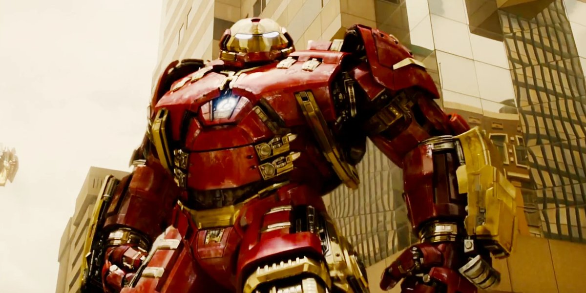 Robert Downey Jr. in the Hulkbuster armor in Avengers: Age of Ultron
