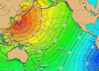 A map of estimated tsunami travel times.