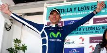Xavier Tondo (Movistar) on the podium to receive the final leader's jersey.