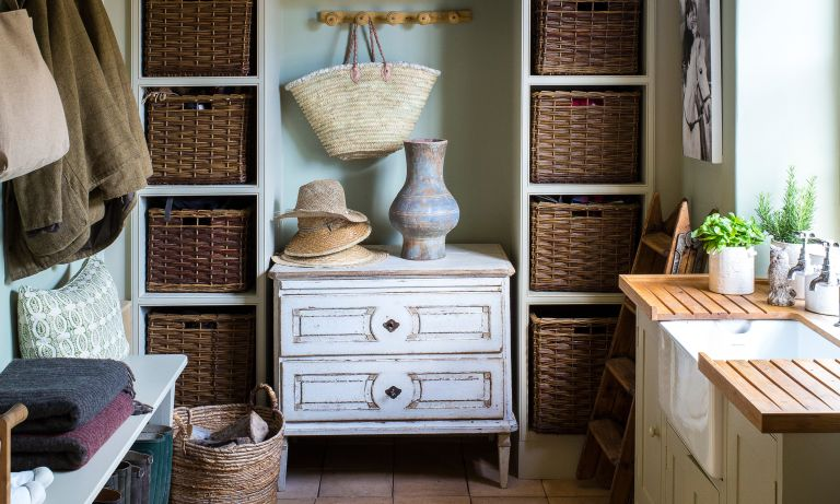 A utility room with storage