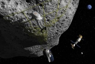 Artist's concept of anchoring to the surface of an asteroid.