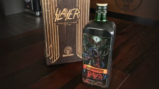 The 1.75 litre bottle of Jägermeister features custom-made artwork that pays tribute to the thrash giants