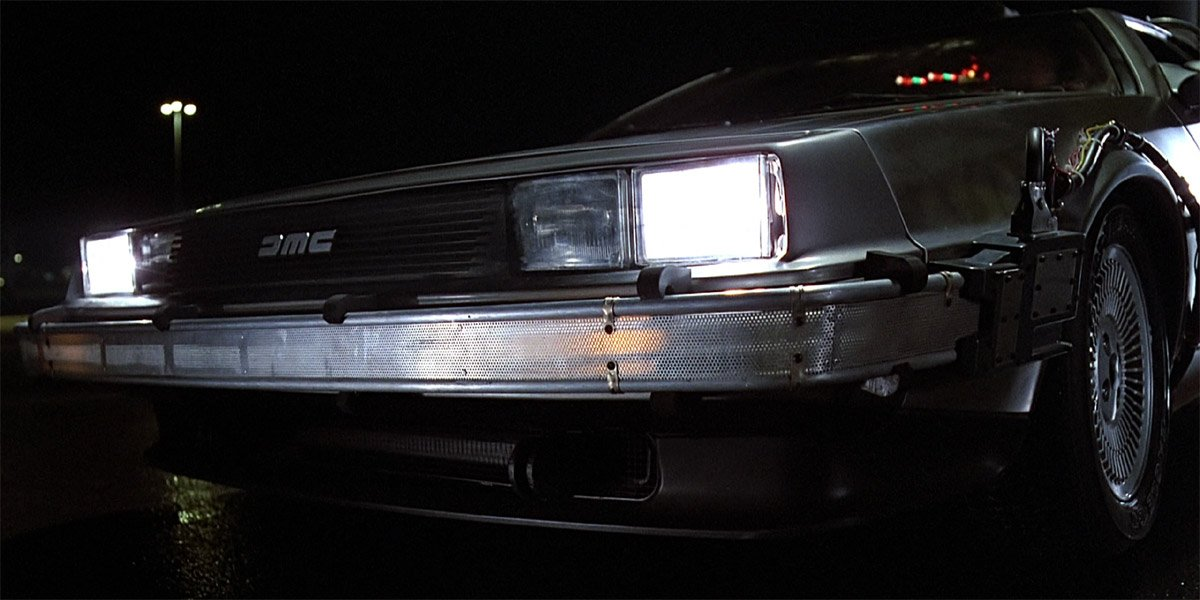 DeLorean Time Machine in Back To The Future close up